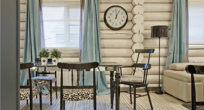 Крашенный блок хаус в интерьере дома фото
