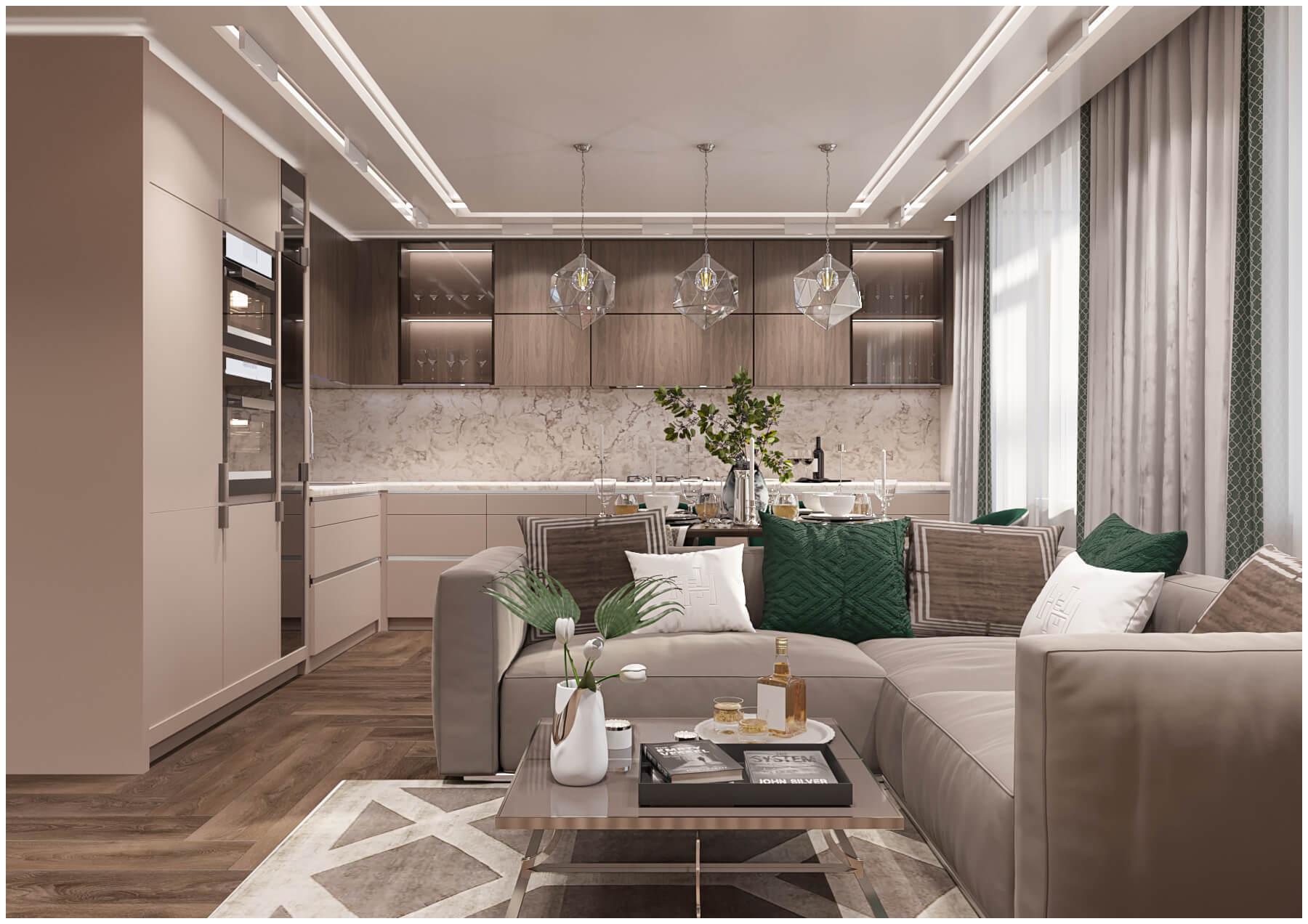 кухня гостиная ракурс1 дизайн студия Tatyana жykova